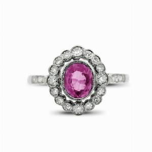 Vintage Pink Sapphire & Diamond Cluster Ring
